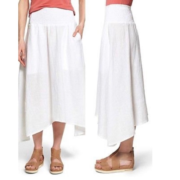 Eileen Fisher Dresses & Skirts - Eileen Fisher White Linen Asymmetrical Skirt